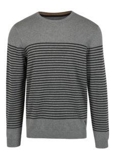 Sivý pánsky pruhovaný sveter s.Oliver