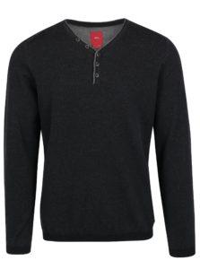 Tmavosivý pánsky melírovaný sveter s gombíkmi s.Oliver