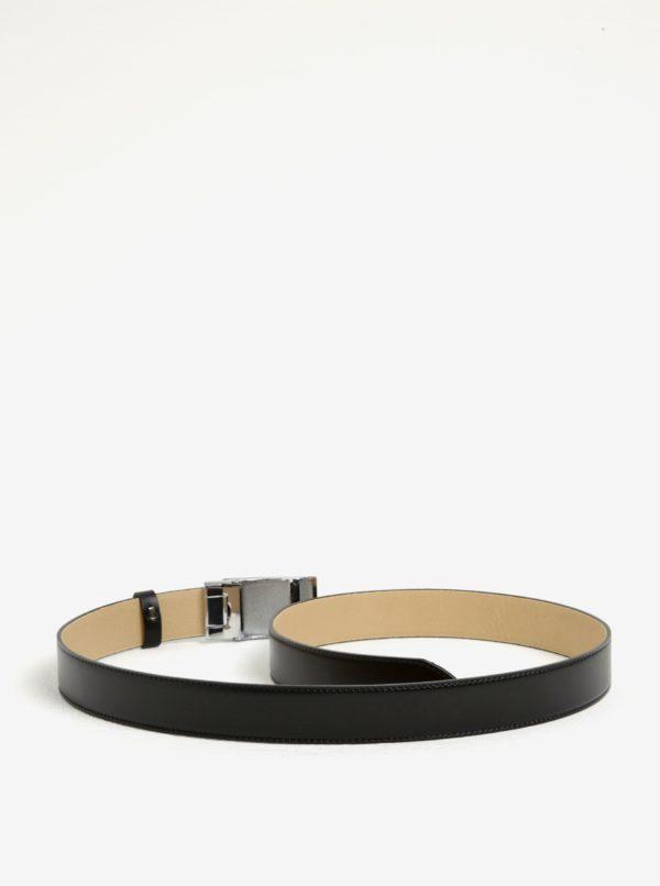 Čierny pánsky kožený opasok s čiernou prackou KARA