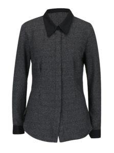 Tmavosivá melírovaná košeľa s dlhým rukávom La femme MiMi