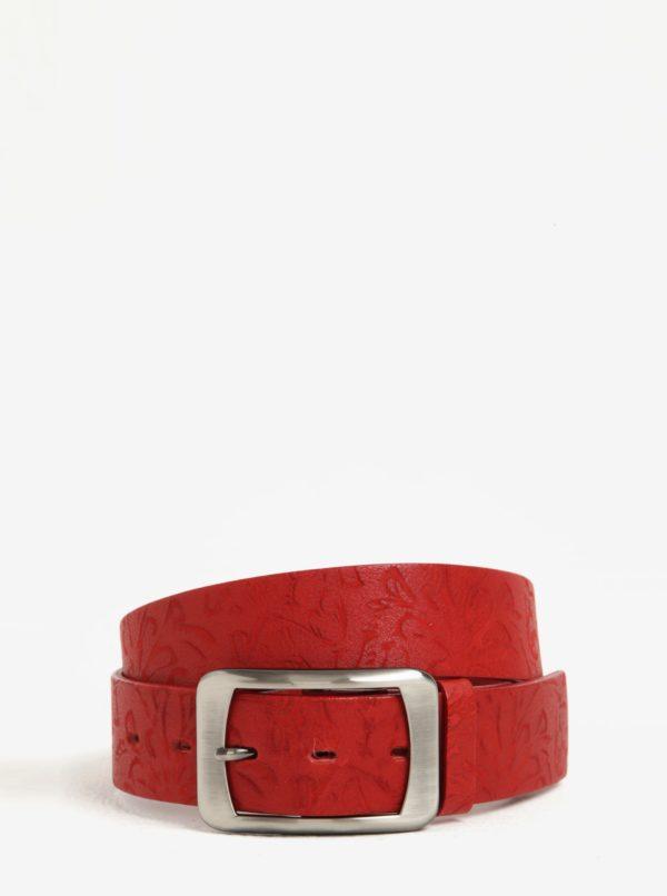 Červený dámsky vzorovaný kožený opasok KARA