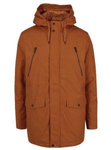 Oranžová pánska zimná bunda s vreckami RVLT