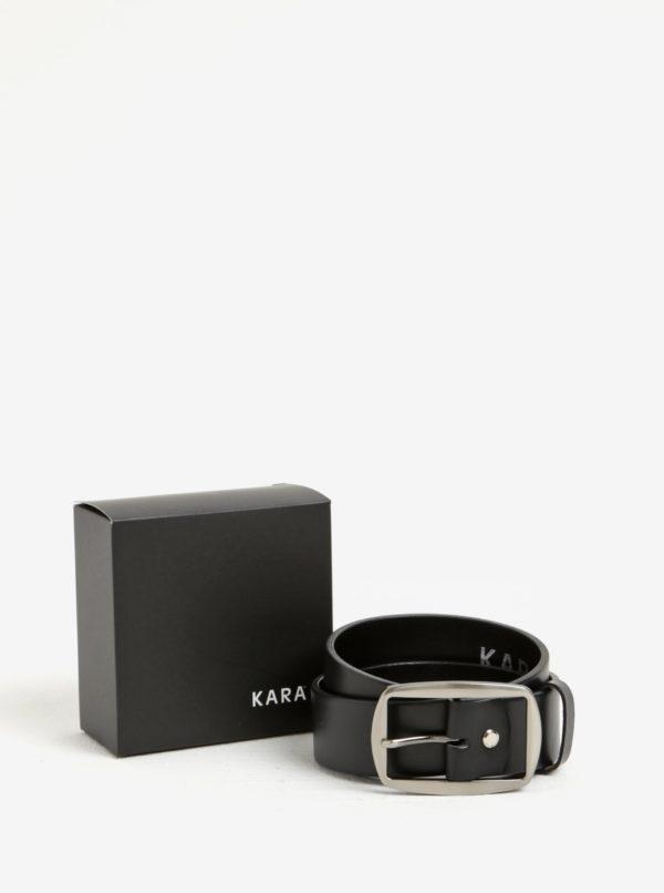 Čierny dámsky kožený opasok so striebornou prackou KARA