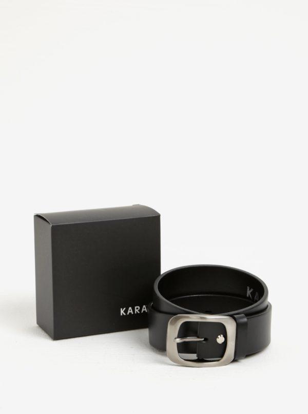 Čierny dámsky kožený opasok s prackou v striebornej farbe KARA