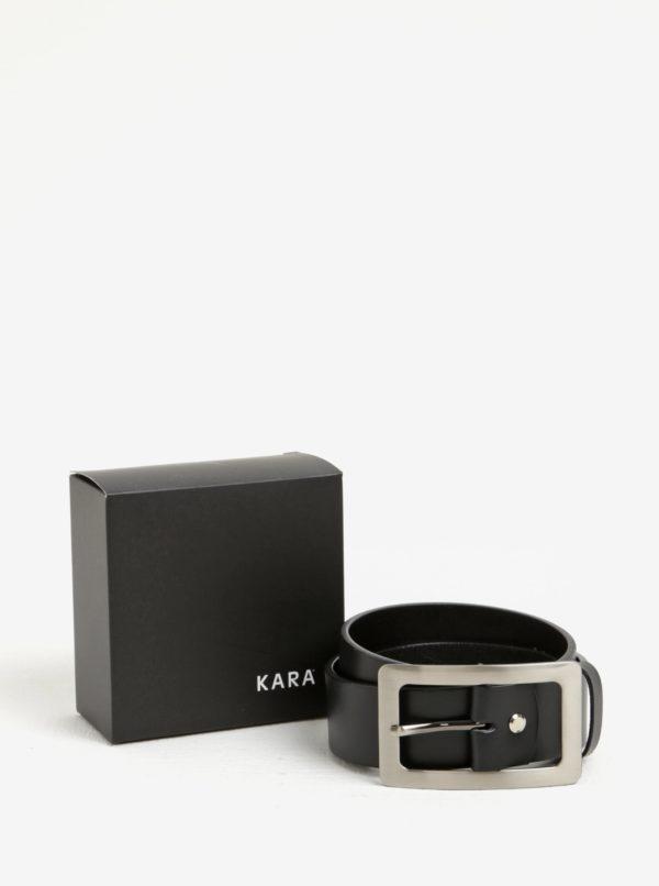 Čierny dámsky kožený opasok so sponou v striebornej farbe KARA