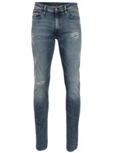 Modré pánske slim rifle s roztrhaným efektom Calvin Klein Jeans