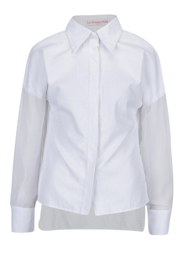 Biela košeľa s priesvitnými rukávmi La femme MiMi