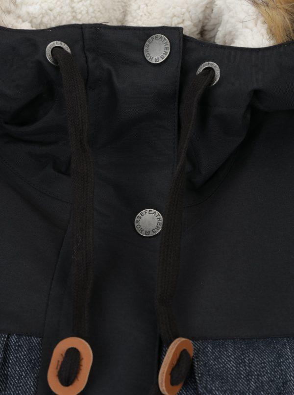 Čierno-modrá dámska zimná parka s umelým kožúškom Horsefeathers Perrie