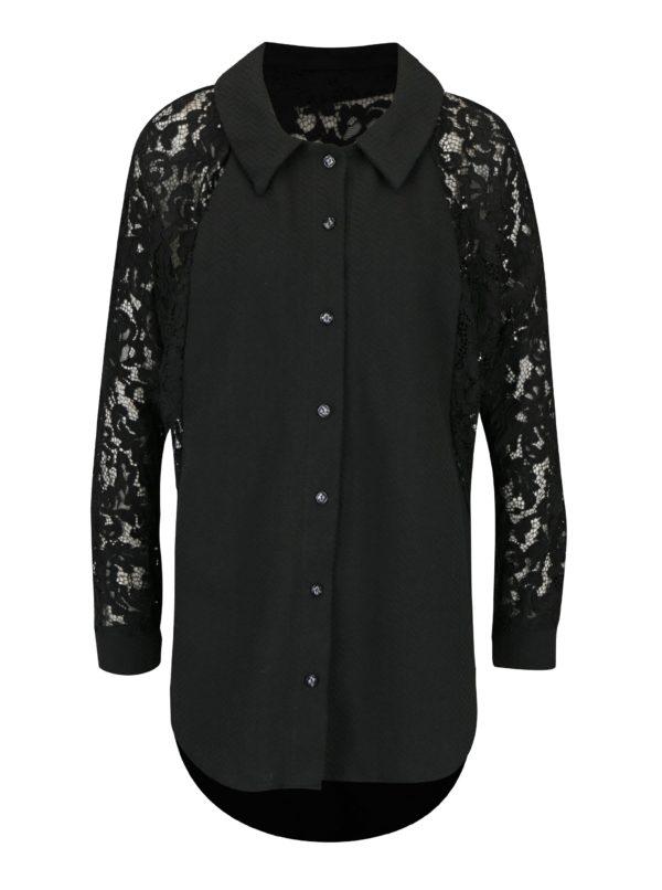 Čierna oversize košeľa s čipkovanými rukávmi La femme MiMi