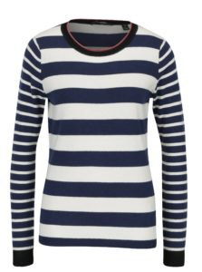 Krémovo-modrý pruhovaný sveter s prímesou vlny Scotch & Soda