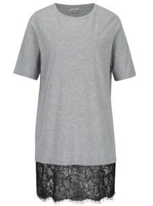 Svetlosivé dlhé tričko s čipkovaným dolným lemom Noisy May