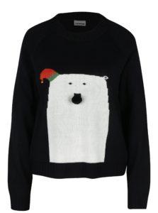 Čierny sveter s motívom medveďa Noisy May Snow bear