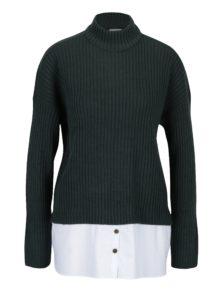 Tmavozelený sveter s prímesou vlny a všitým košeľovým dielom Noisy May Nami