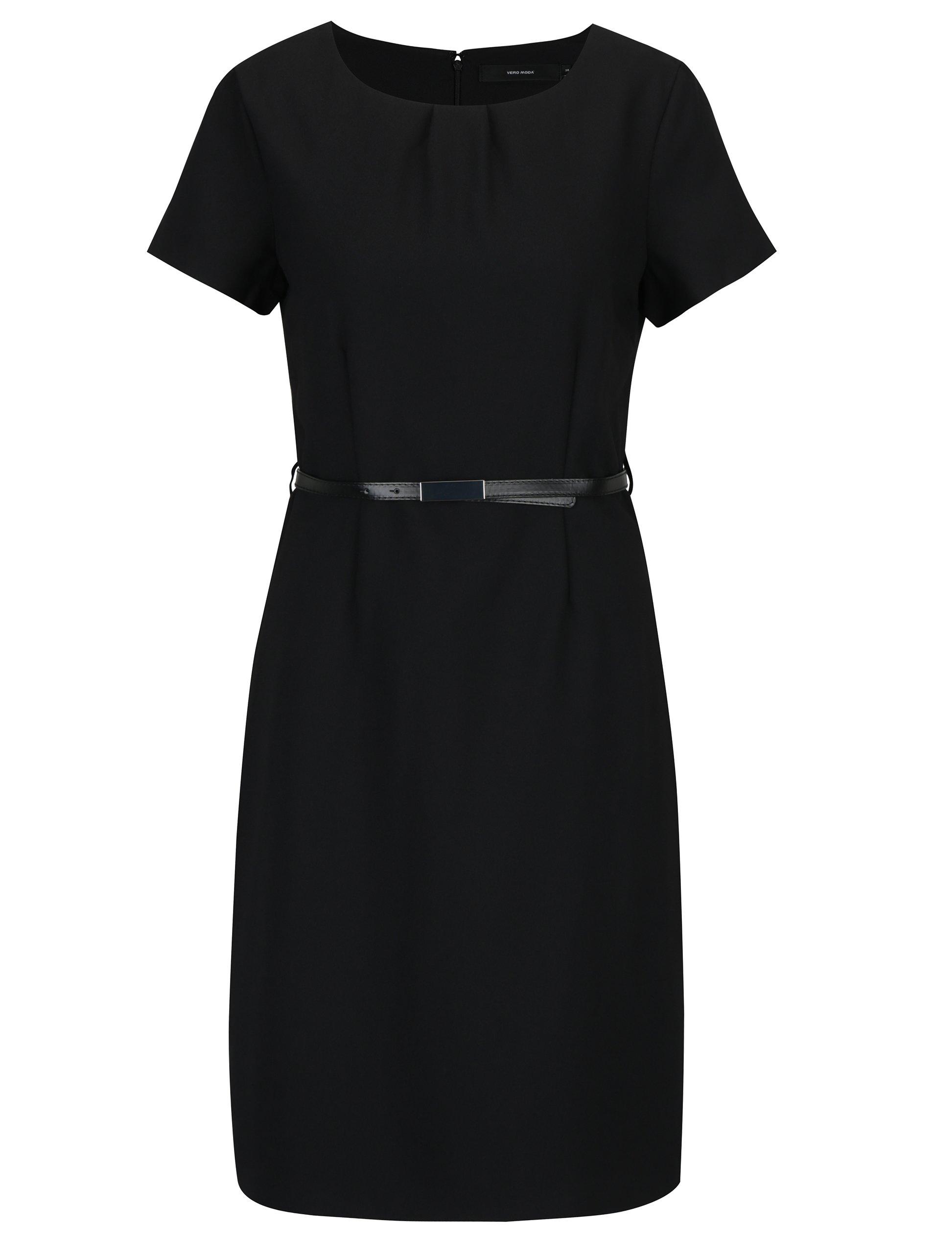 9110764da663 Čierne šaty s krátkym rukávom a odnímateľným opaskom VERO MODA Helen ...