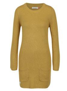 Horčicové svetrové šaty s dlhým rukávom Brakeburn