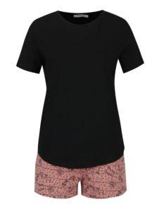 Ružovo-čierne pyžamo s vianočnou potlačou Pieces Cammi