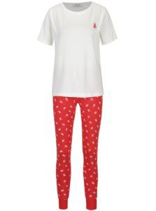 Krémovo-červené pyžamo s motívom Pieces Cailin