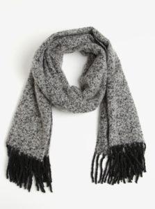 Čierno-sivý melírovaný šál so strapcami Pieces Jera