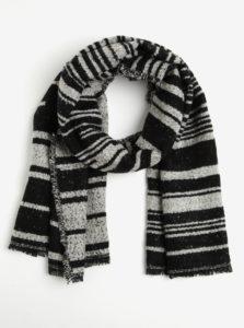 Krémovo-čierny dlhý pruhovaný šál Pieces Jessica