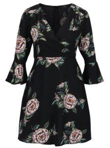 Čierne kvetované šaty s prekladaným dekoltom AX Paris