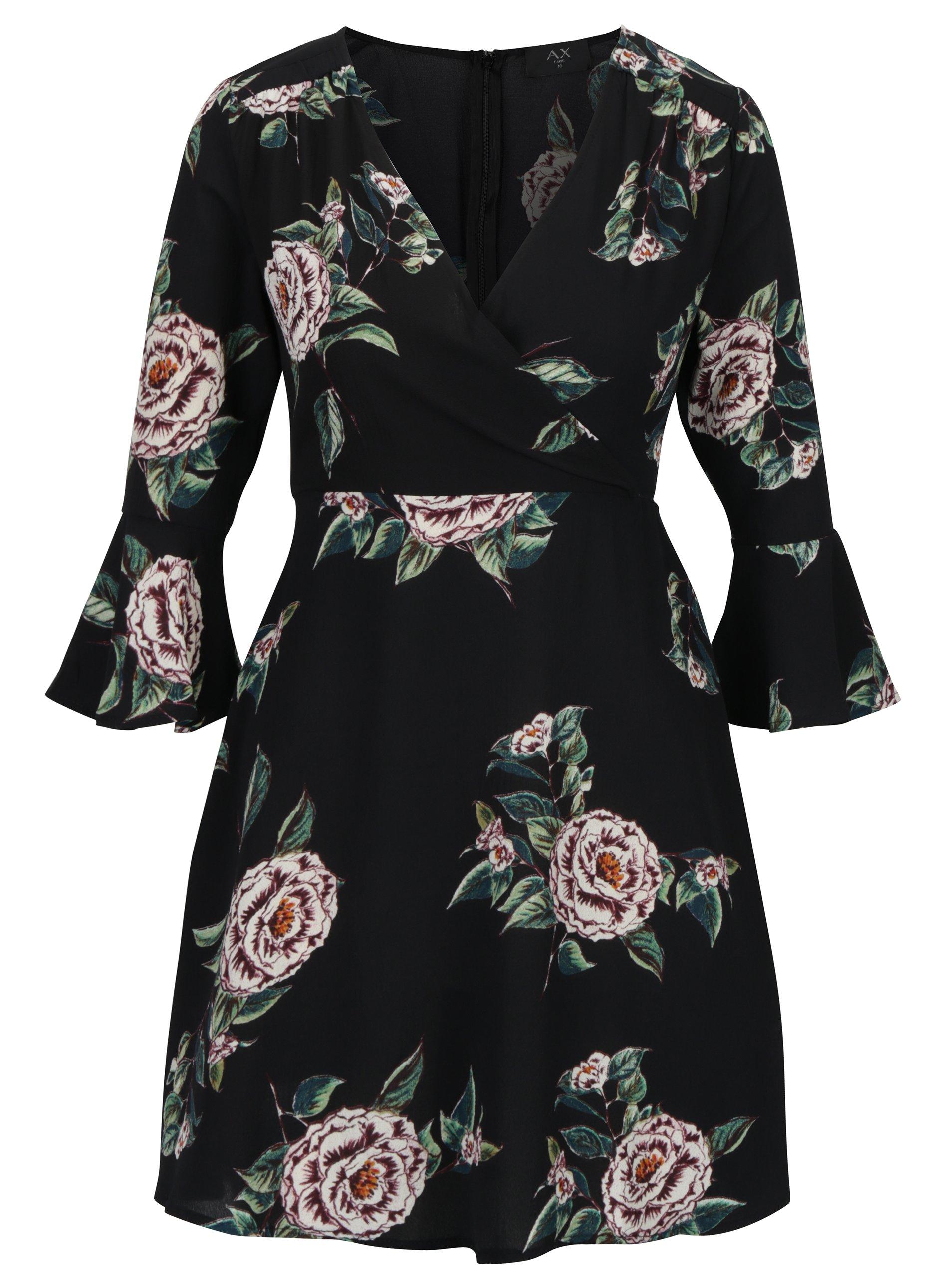 157daf15994c Čierne kvetované šaty s prekladaným dekoltom AX Paris