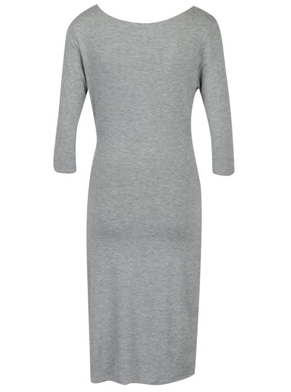 Sivé melírované šaty s prekladaným výstrihom Fever London Alberta