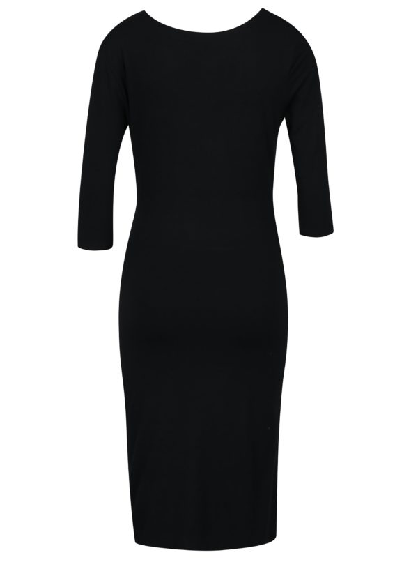 Čierne šaty s prekladaným výstrihom Fever London Alberta