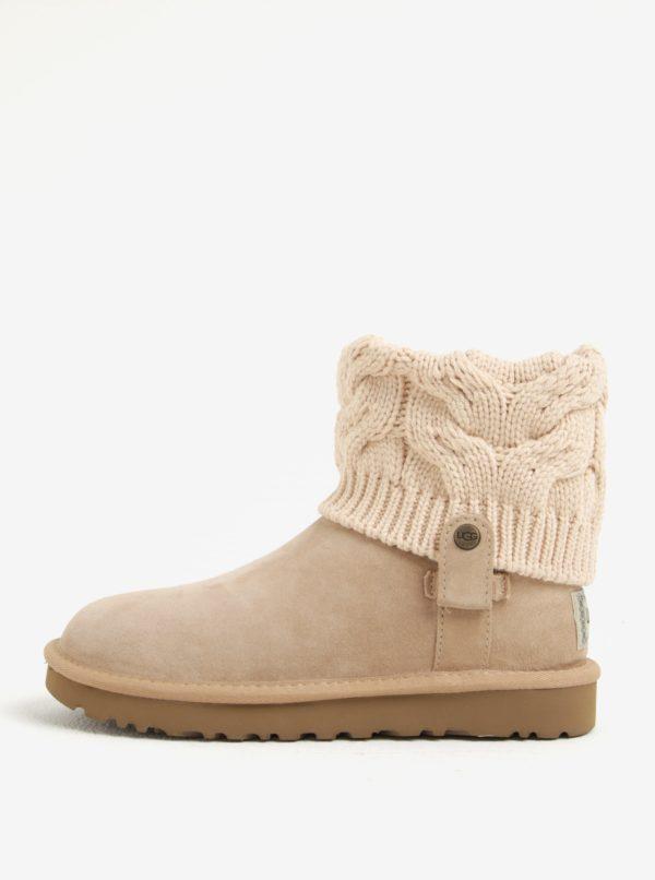 Béžové zimné semišové vodovzdorné členkové topánky UGG Saela