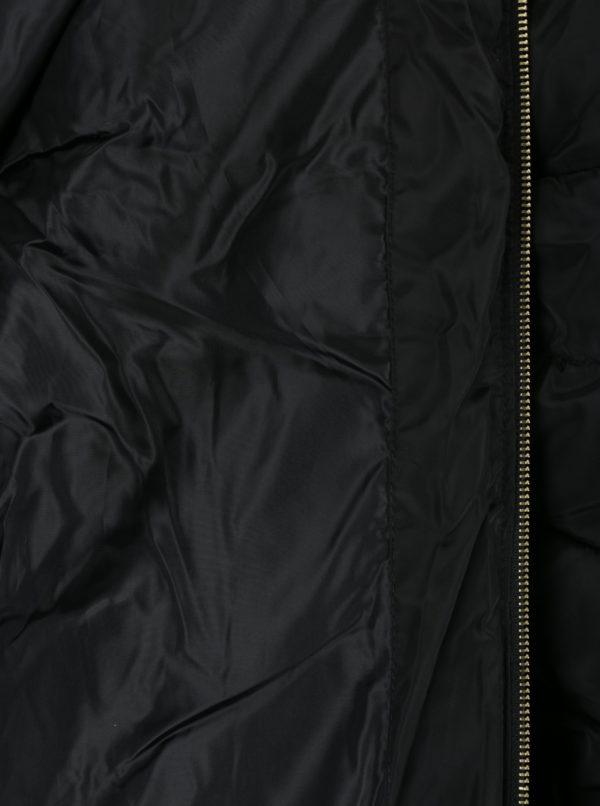 Čierny tehotenský prešívaný zimný kabát s umelým kožúškom Dorothy Perkins Maternity