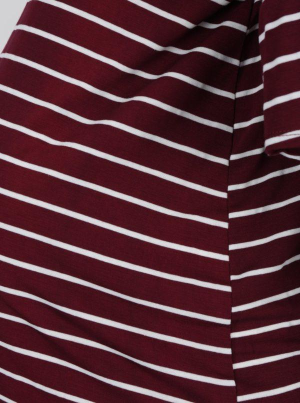 Krémovo–vínové pruhované tehotenské tričko Dorothy Perkins Maternity