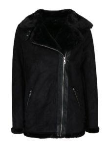 Čierna zimná bunda v semišovej úprave s umelou kožušinkou Dorothy Perkins