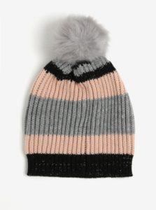 Ružovo-sivá pruhovaná čiapka s brmbolcom ONLY Annica