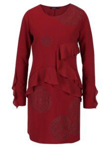 Vínové šaty s potlačou a volánmi Desigual Flopo
