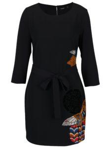 Čierne šaty so vzorom a trojštvrťovým rukávom Desigual Brad
