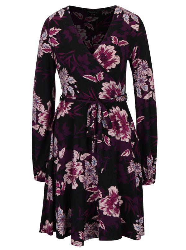 Fialovo-čierne kvetované šaty s prekladaným výstrihom Dorothy Perkins