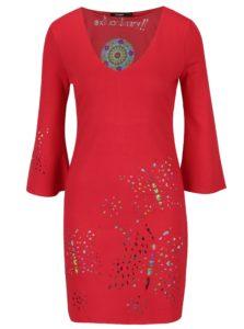 Červené šaty s prestrihmi Desigual Dominique