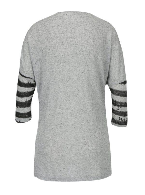 Sivé melírované tričko s potlačou Desigual Magdalena
