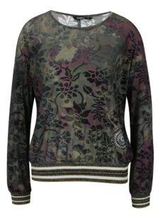 Tmavozelené tričko so zamatovým vzorom Desigual Sally