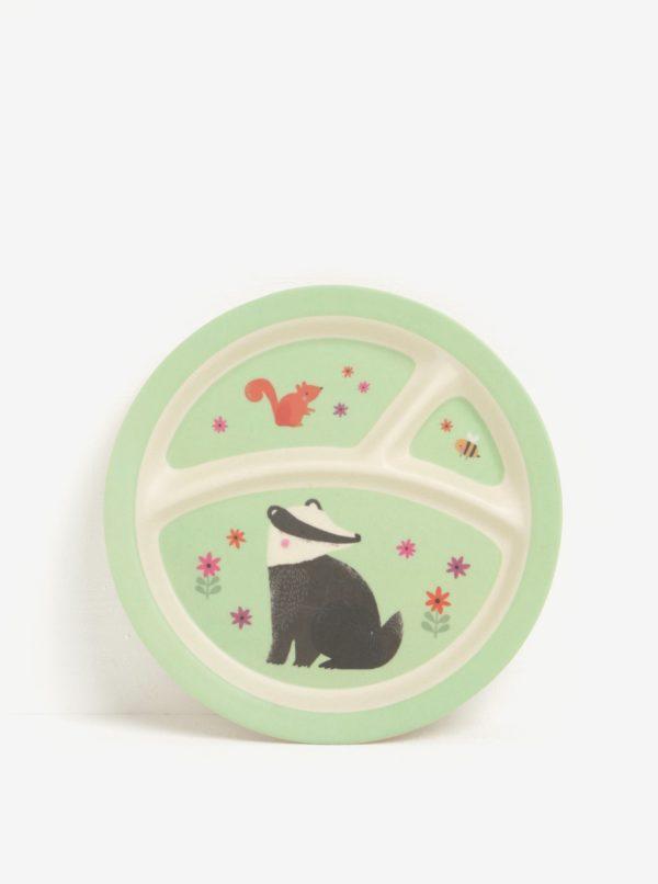 Béžovo-zelený detský tanier s motívom lesných zvierat Sass & Belle Woodland Friends