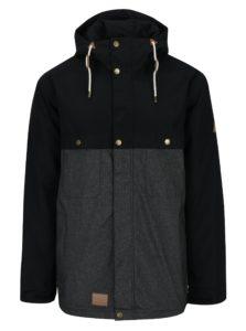 Sivo-čierna pánska zimná vodovzdorná bunda s kapucňou MEATFLY Dandy