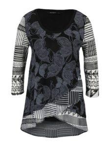 Sivo–čierne vzorované tričko s 3/4 rukávmi Desigual Repeto