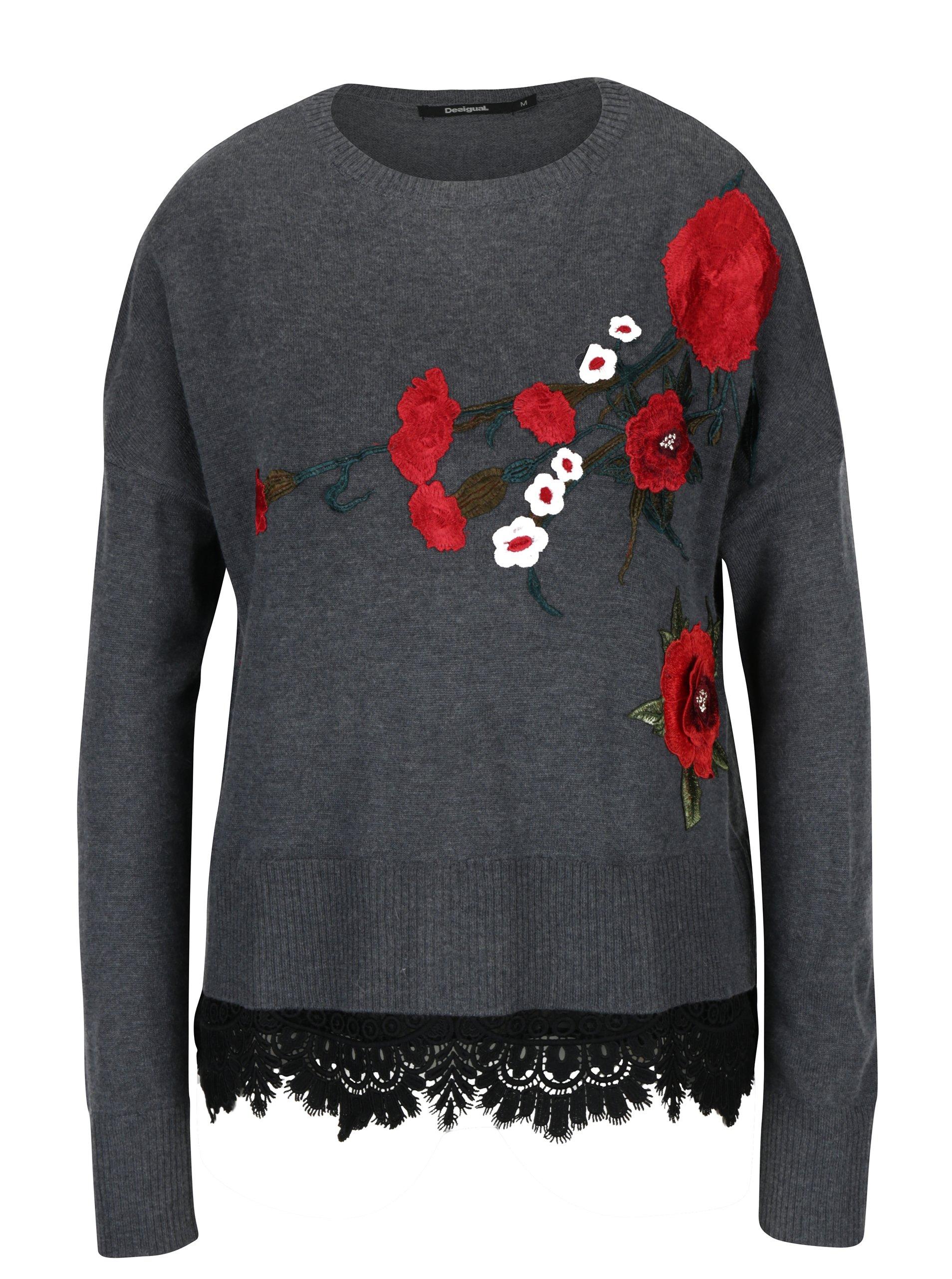 Sivý tenký sveter s nášivkou a čipkou Desigual Rosalia  b570cefc7ea