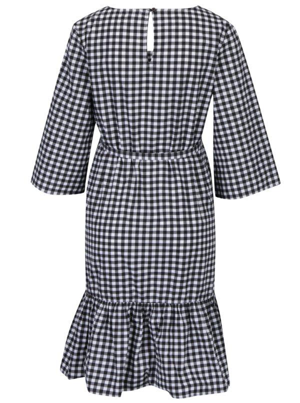 Bielo-čierne tehotenské kockované šaty s 3/4 rukávmi Mama.licious Gigi