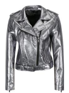 Koženková metalická bunda v striebornej farbe ONLY Ann