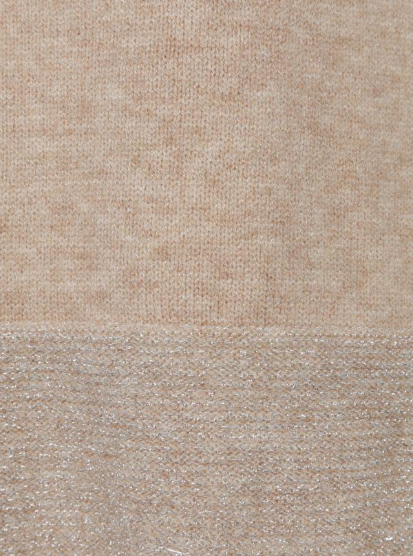 Béžové svetrové šaty s ligotavými detailmi ONLY Lily
