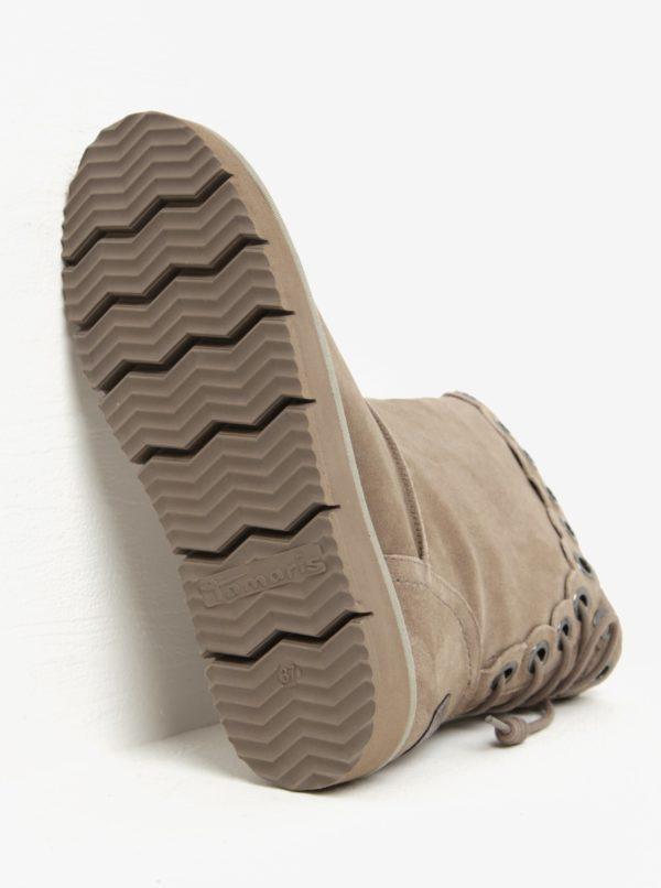Béžové semišové čižmy so šnurovaním na zadnej strane Tamaris
