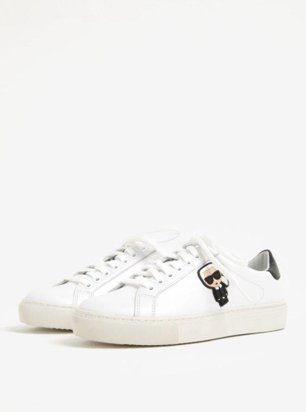 Biele kožené tenisky s gumovou aplikáciou KARL LAGERFELD Kupsole