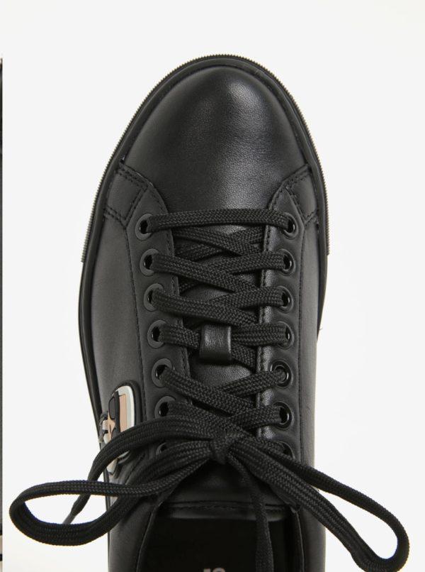 Čierne kožené tenisky s gumovou aplikáciou KARL LAGERFELD Kupsole