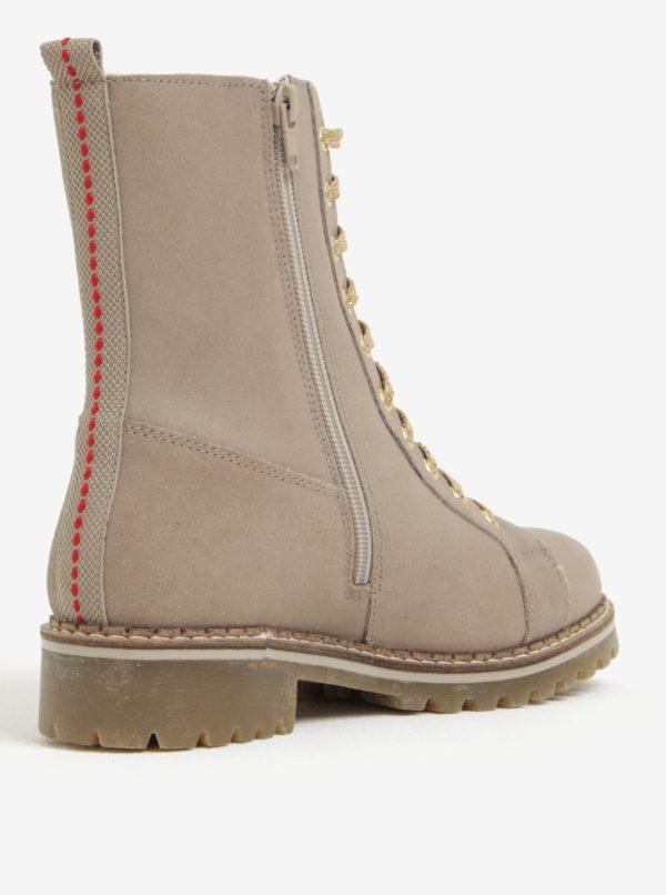 Béžové dámske kožené zimné členkové topánky s.Oliver