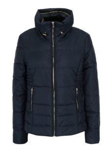 Tmavomodrá prešívaná bunda so skrytou kapucňou ONLY Brooke